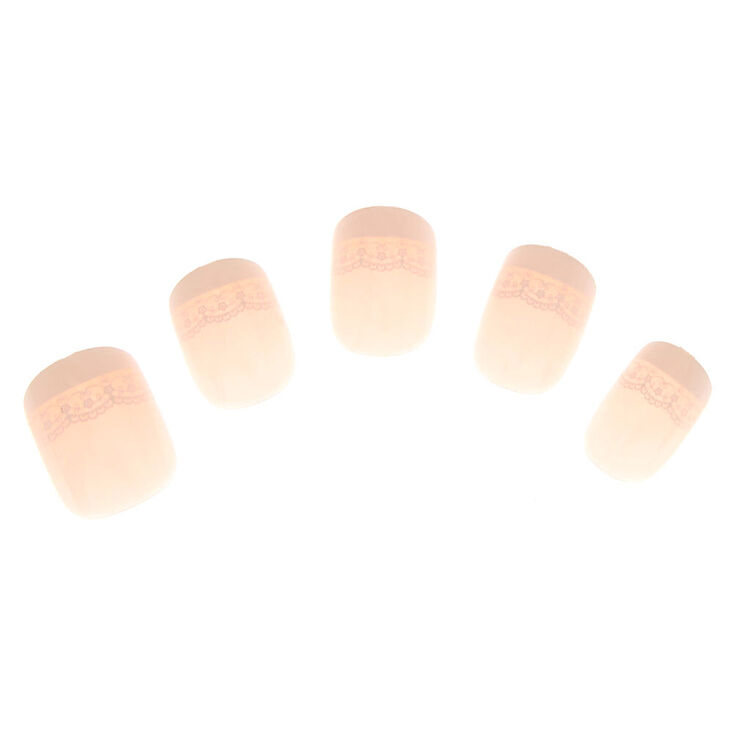 Lace French Tip Square Faux Nail Set - 24 Pack,