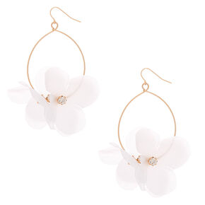 "Gold 3"" Bouquet Drop Earrings - White,"