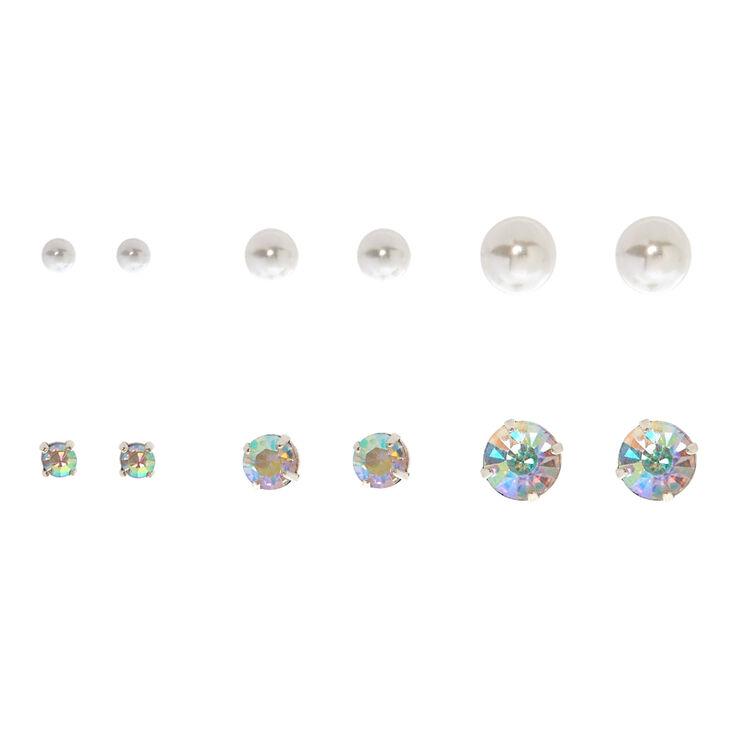 6 Pack Graduated Stud Earrings,