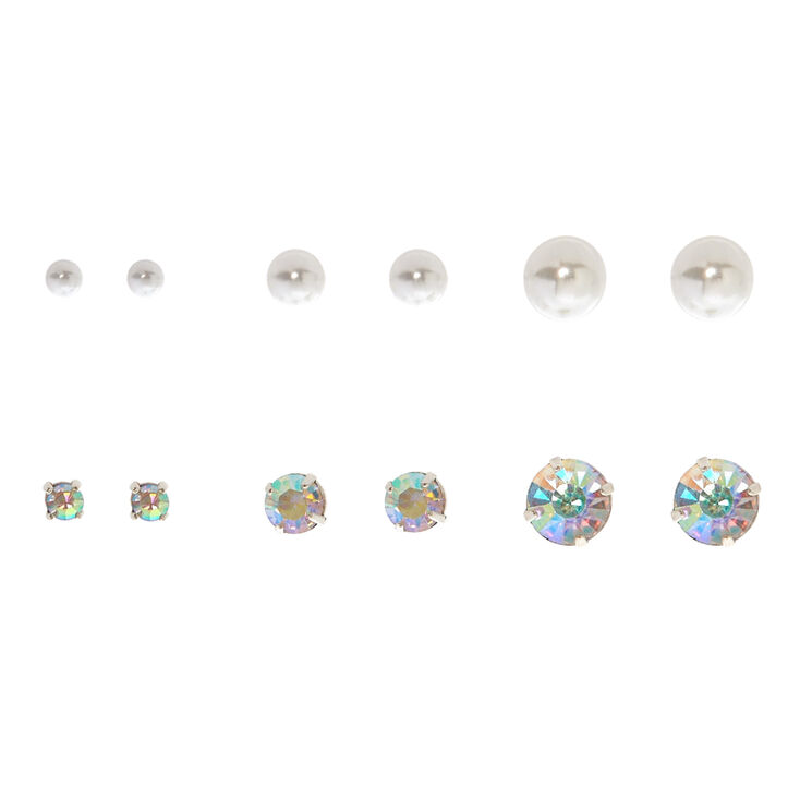 6 Pack Graduated Stud Earrings