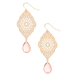 "Gold 2.5"" Filigree Drop Earrings - Pink,"