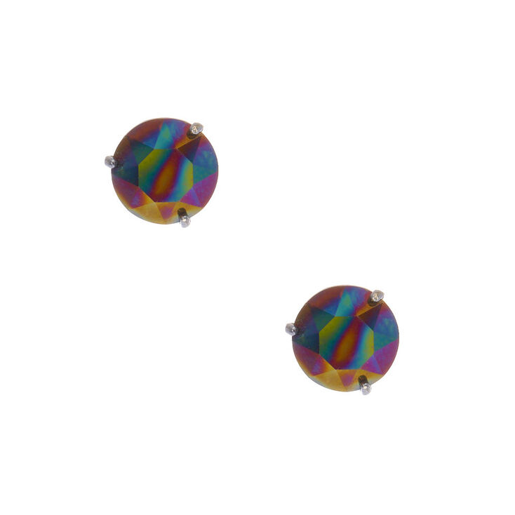 925 Sterling Silver Black AB Cubic Zirconia Earrings,