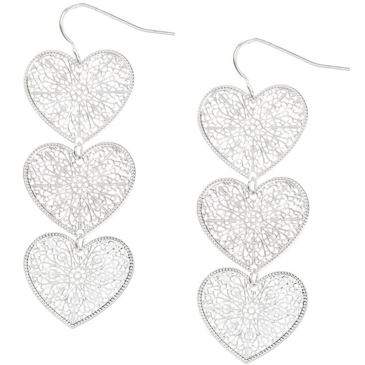 """Silver 2"""" Filigree Heart Drop Earrings,"""