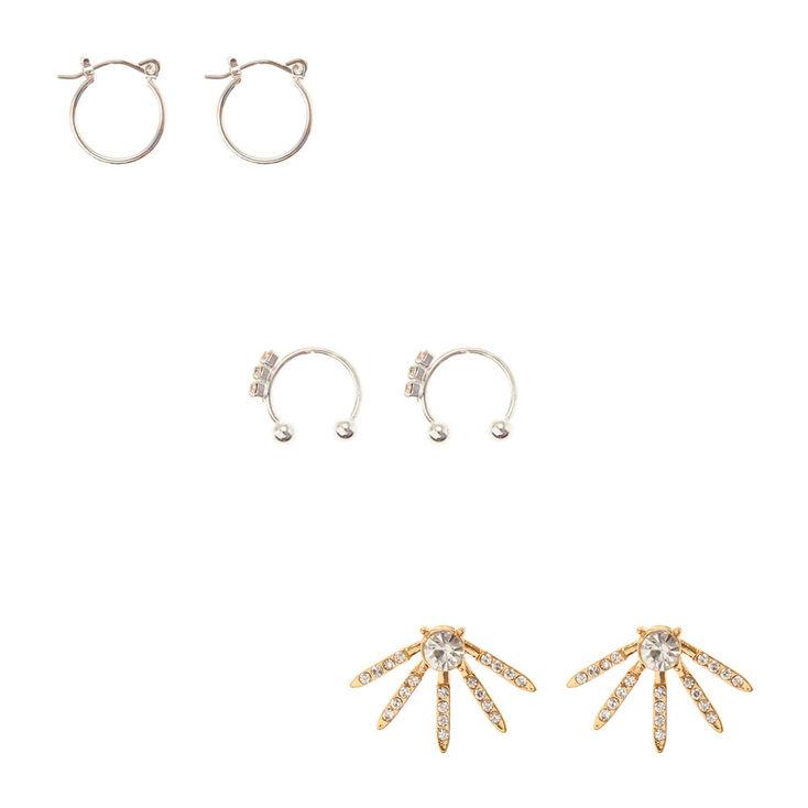 5072c61589cf0 Silver & Gold Crystal Ear Cuff & Stud Earring Set