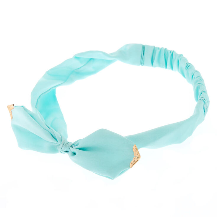 Mint Satin Bow Headwrap,