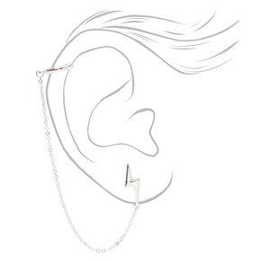 Silver Lightning Bolt Ear Connector Stud Earrings,