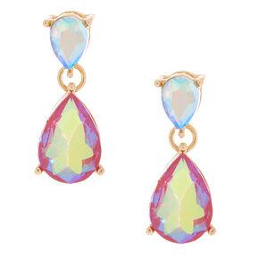 Iridescent Fuchsia Teardrop Drop Earrings,
