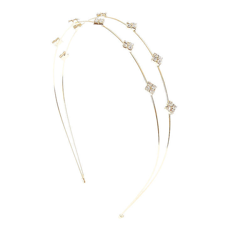 Diamond Shaped Double Row Headband - Gold,