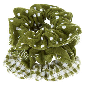 Bandana Print Mix Hair Scrunchies - Olive Green, 3 Pack,