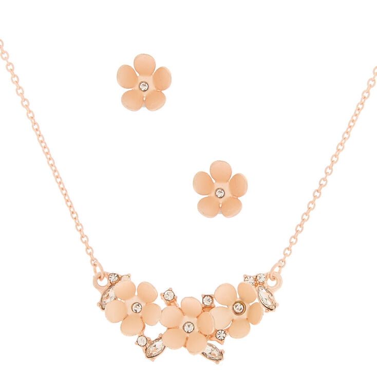 Brushed Gold Dainty Floral Jewelry Set - 2 Pack,