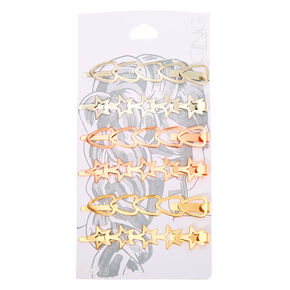 Mixed Metal Heart Star Hair Pins - 6 Pack,