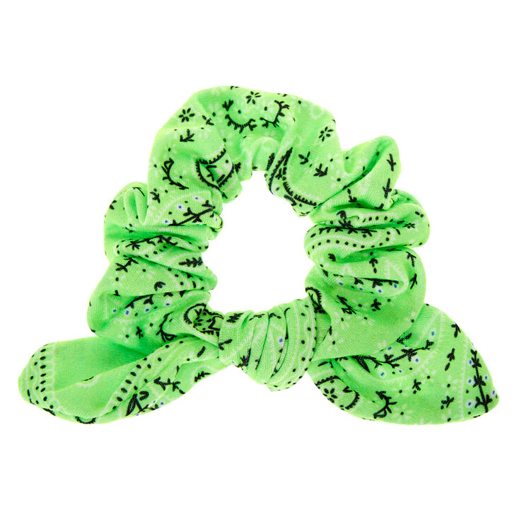 Bandana Knotted Bow Hair Scrunchie - Neon Green,