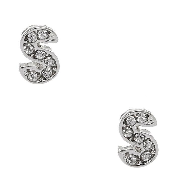 "Silver Tone Faux Crystal Initial ""S"" Stud Earrings,"