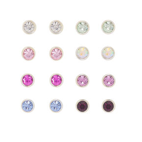 Crystal Stud Earrings - 9 Pack, Multi-Colored,