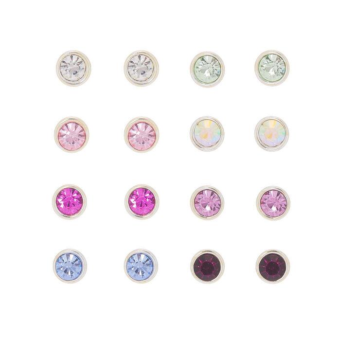 Crystal Stud Earrings - 9 Pack, Multi-Colored,