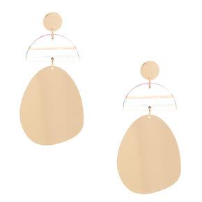 """Gold 2.5"""" Striped Geometric Drop Earrings,"""