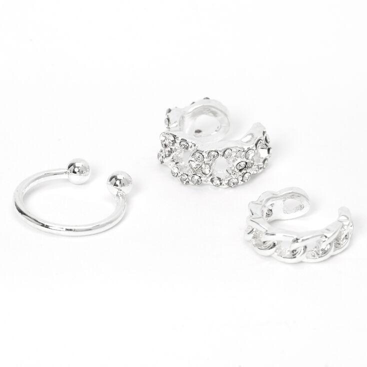 Silver Crystal Chain Ear Cuffs - 3 Pack,