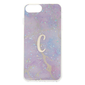 Lilac Marble Glitter C Initial Phone Case - Fits iPhone 6/7/8 Plus,