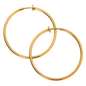Gold 40MM Clip On Hoop Earrings,