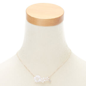Rose Gold Floral Rhinestone and Pearl Pendant Necklace,
