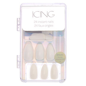 Glossy Faux Nail Set - White, 24 Pack,