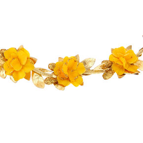 Gold Flower Crown Headwrap - Mustard,