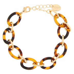 Gold Resin Tortoiseshell Chain Statement Bracelet - Brown,
