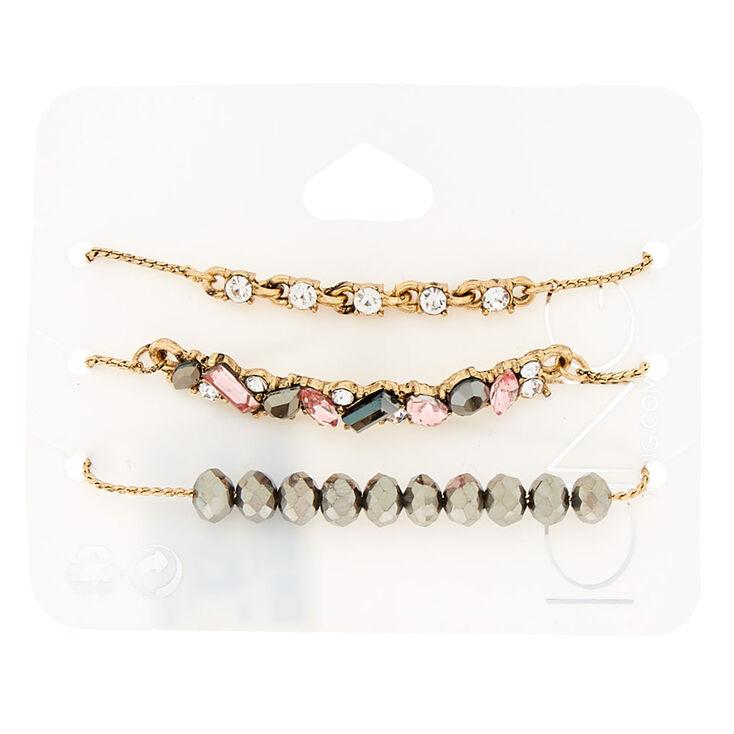 Antique Gold Embellished Statement Bracelets - 3 Pack,