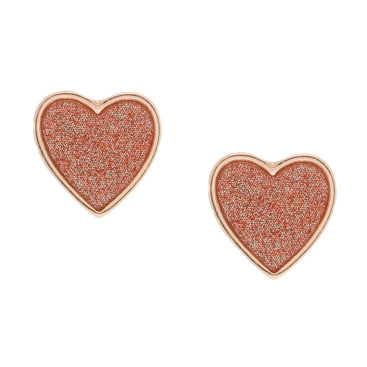 Rose Gold Glitter Heart Stud Earrings,