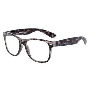 Tortoiseshell Retro Clear Lens Frames - Gray,