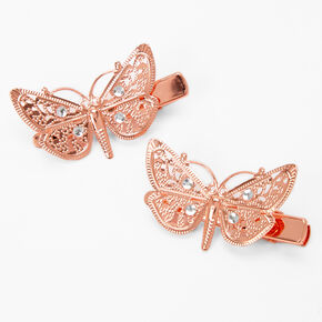 Rose Gold Butterfly Hair Clips - 2 Pack,
