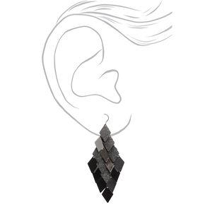 """Hematite 3"""" Diamond Drop Earrings,"""