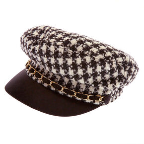 Houndstooth Captain Hat - Black,