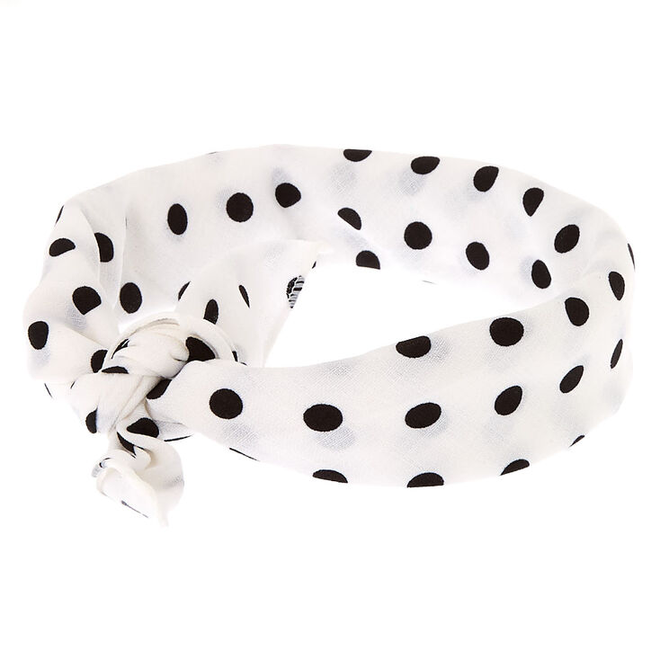 Polka Dot Knotted Bandana Headwrap - White,