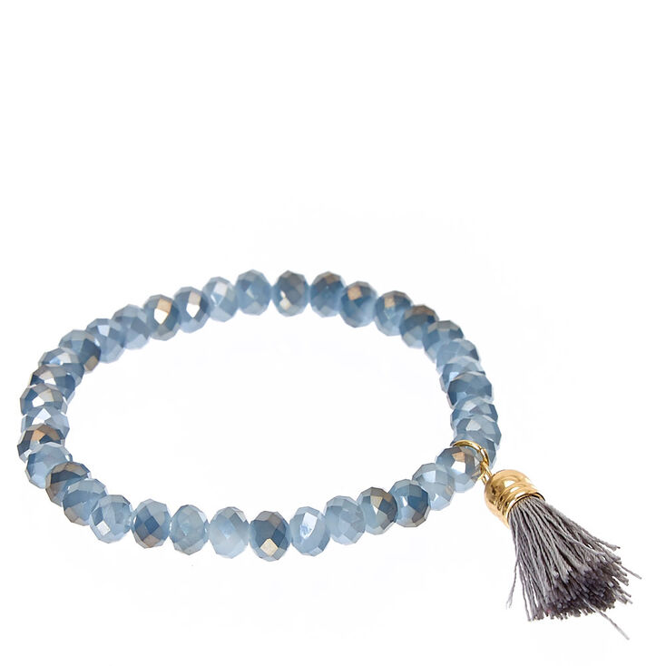 Gray Faceted Bead with Tassel Charm Stretch Bracelet,