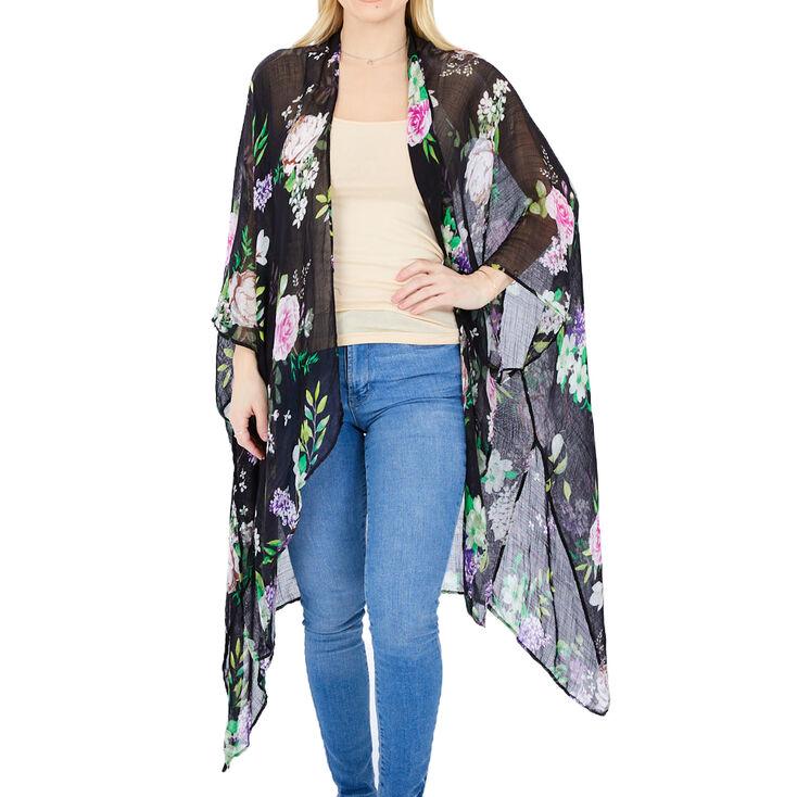 Sheer Floral Kimono - Black,