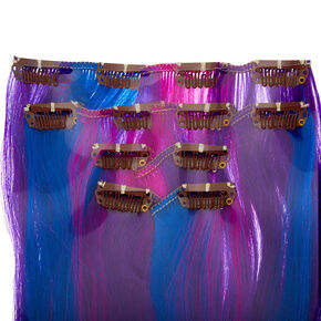 Ombre Faux Hair Clip In Extensions - Purple, 4 Pack,