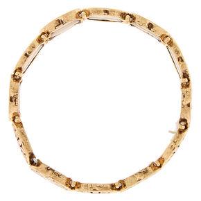 Gold Medallion Stretch Bracelet - Coral,