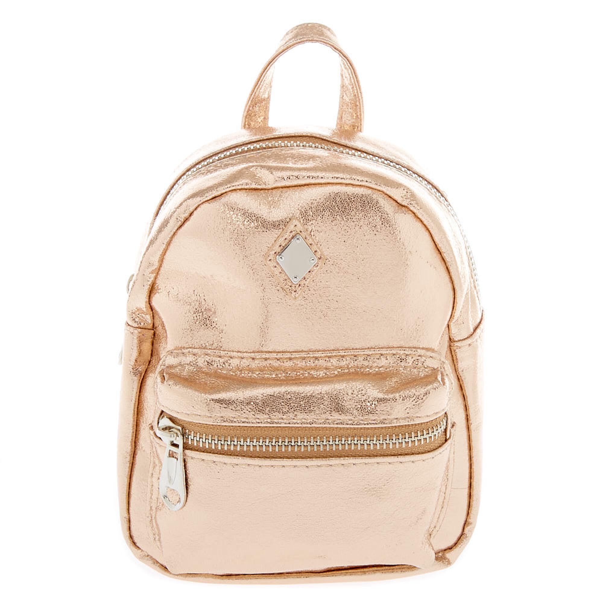 804f7c66c2 Metallic Rose Gold Mini Backpack
