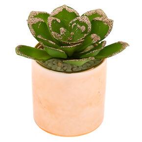 Metallic Glitter Faux Succulent Plant - Rose Gold,