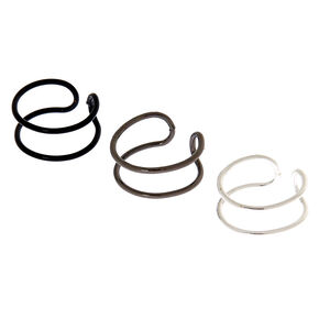 Mixed Metal Wire Ear Cuffs - 3 Pack,