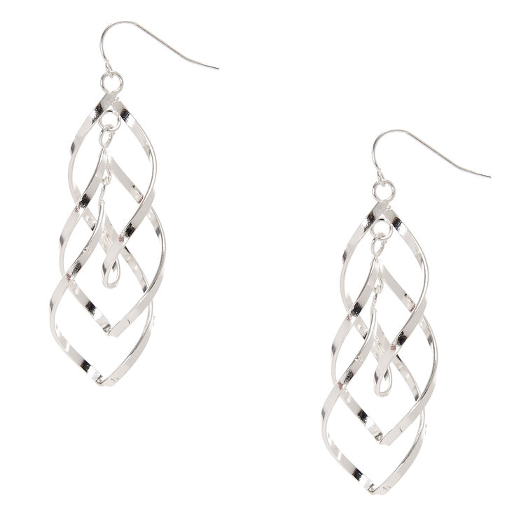 Silver Tone Double Swirl  Drop Earrings,