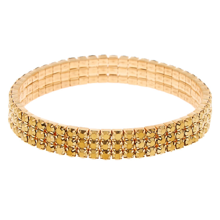 Gold Rhinestone Stretch Bracelet,