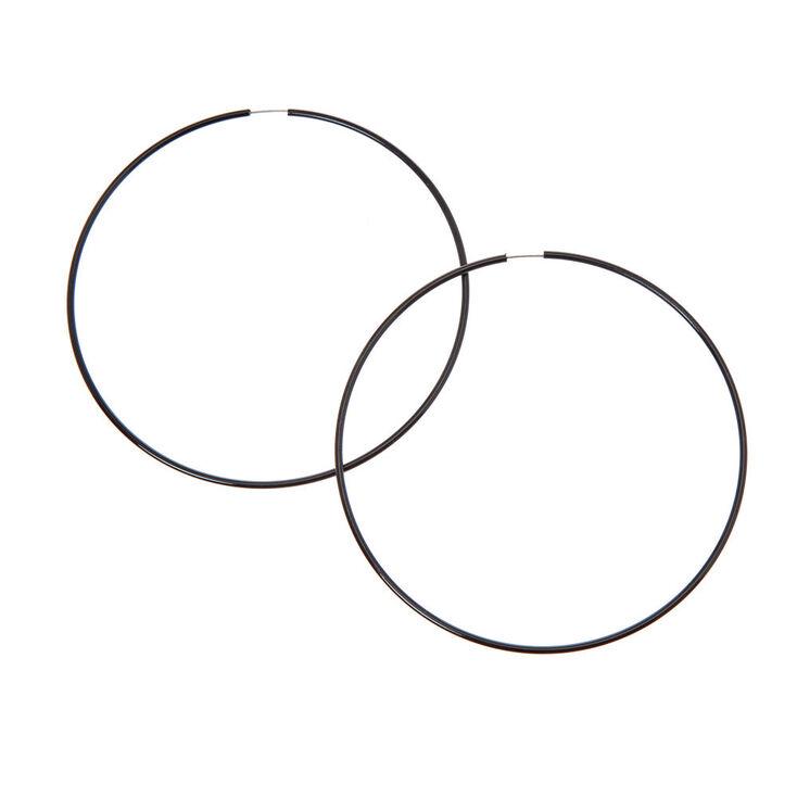 100MM Hoop Earrings - Black,