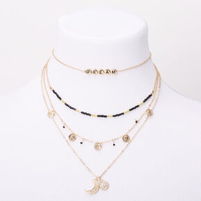 Gold Mystical Mood Multi Strand Choker Necklace,