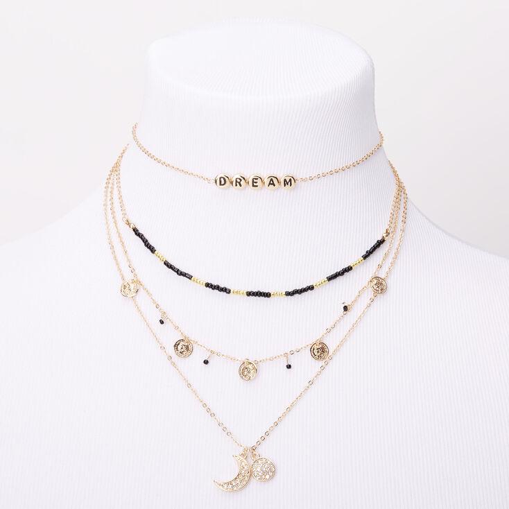 Gold Mystical Mood Multi Strand Choker Necklace,