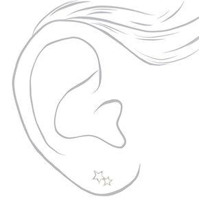 Sterling Silver Double Open Star Stud Earrings,