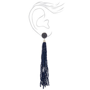 "5"" Beaded Tassel Drop Earrings - Navy,"