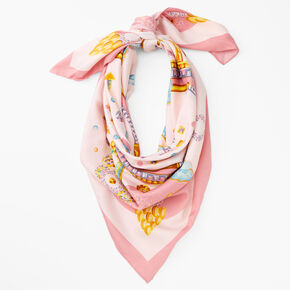 35 x 35 Pink Turquoise Scarf,