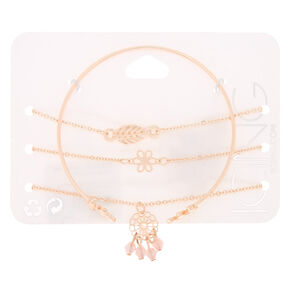 Rose Gold Delicate Bracelets - 4 Pack,